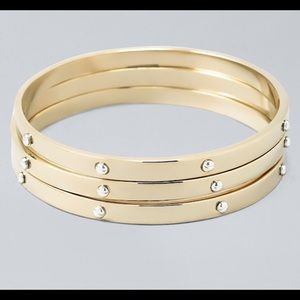 WHBM Screw-Accent 3 Gold Bangle Bracelets - NWT